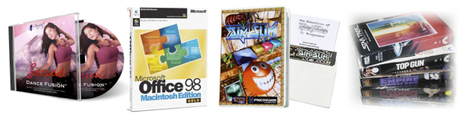 Packaged digital products in CD and disks from the 1990s