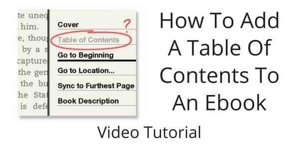 How To Add A Table Of Contents To An Ebook