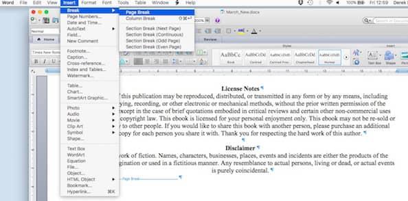 Insert Page Break in an ebook