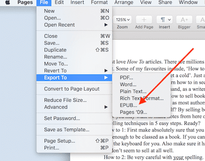 How to use Apple Pages to export directly to epub