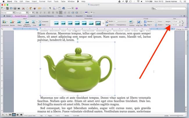 change image size in word