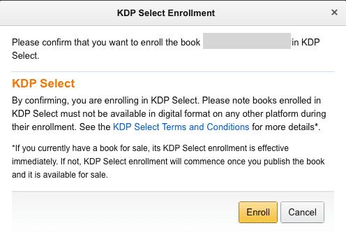 KDP Select Enrol box