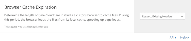 cloudflare cache settings