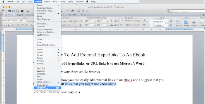 How to add a hyperlink to an ebook slide two