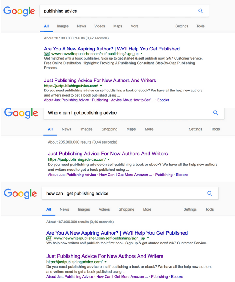 Just Publishing SERP