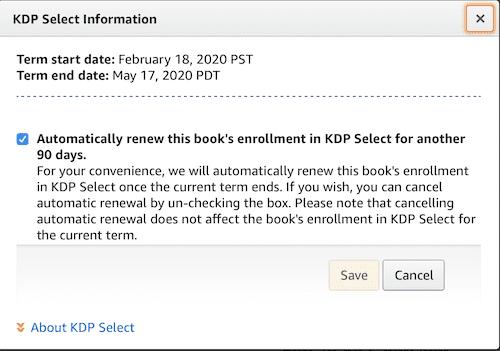 KDP automatic enrollment tick box