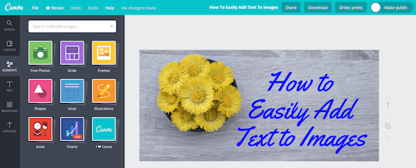 add text to a picture with canva