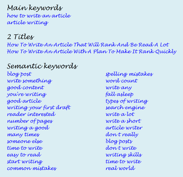 main Keywords
