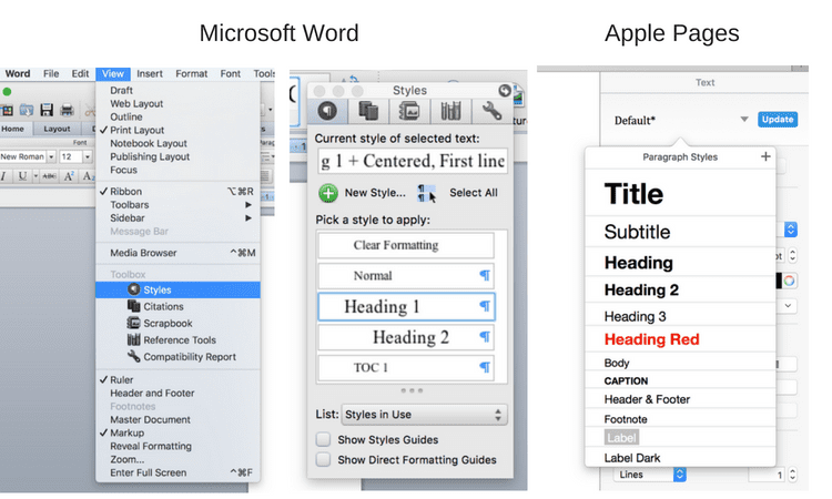 Microsoft Word and Pages Styles