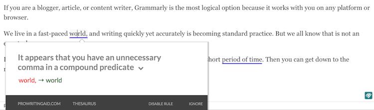 PWA punctuation