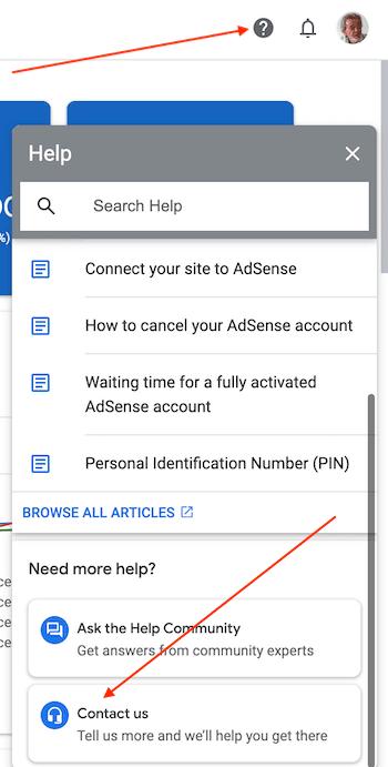 contact adsense help