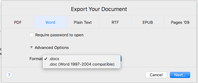 Export documents to Word doc and docx files