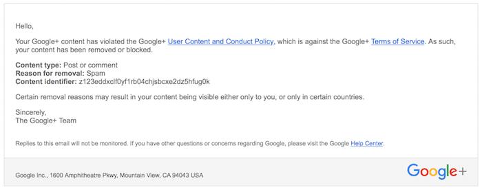 google+ notice