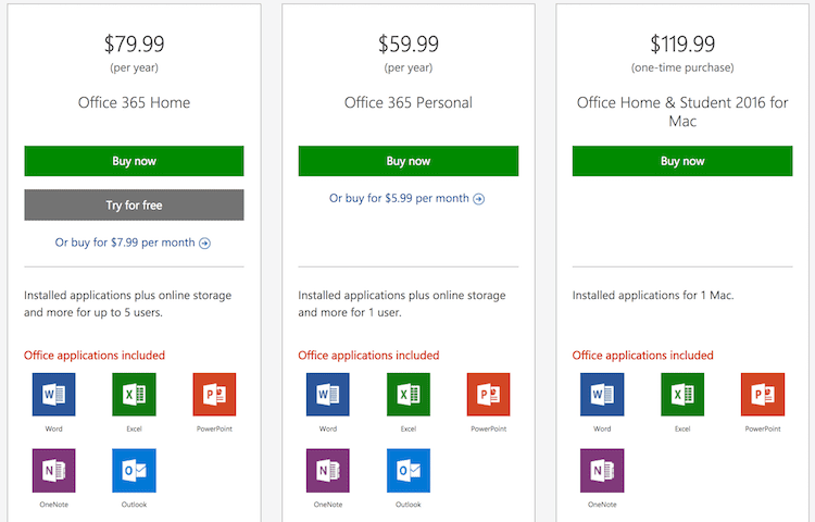 Microsoft Office for Mac subscription prices and purchase price
