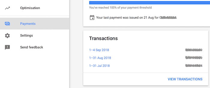 adsense payments tab