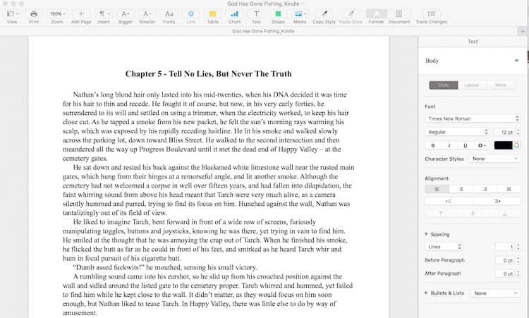 Page layout view of the Apple Pages word processor