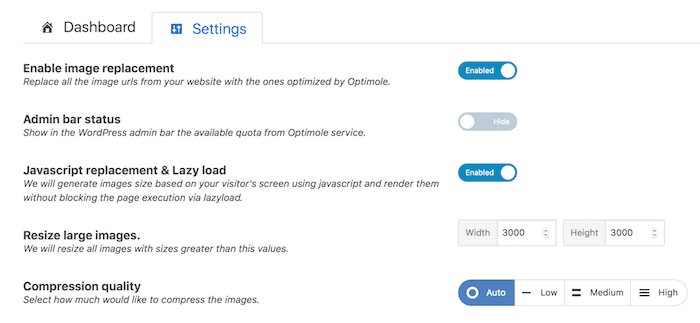 optimole settings