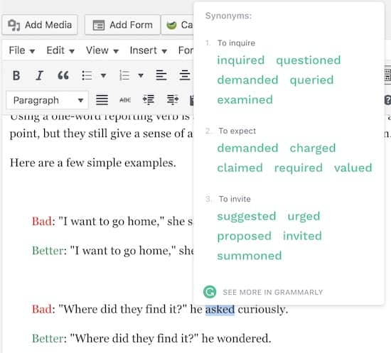 Find said synonyms with Grammarly
