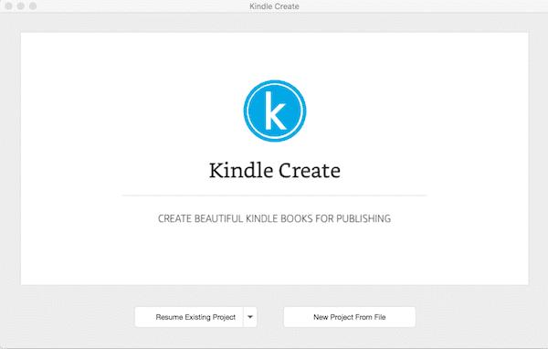Kindle Create welcome screen