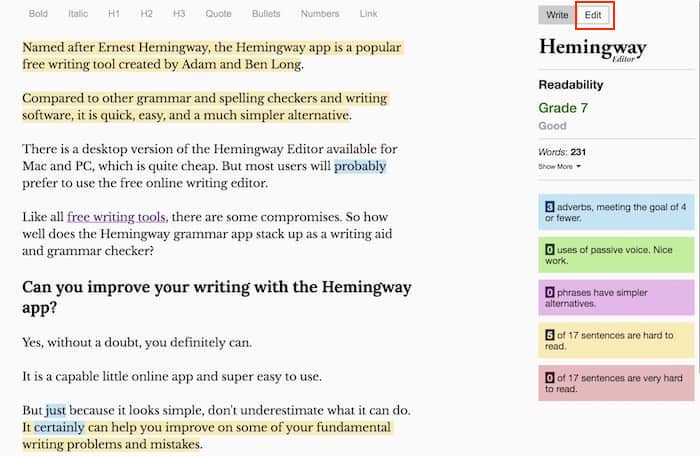 hemingway edit screen