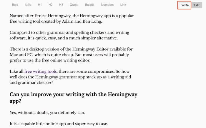 hemingway write screen