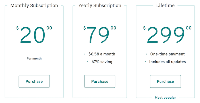 PWA Pricing Table