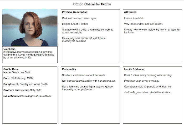 fiction character profile template