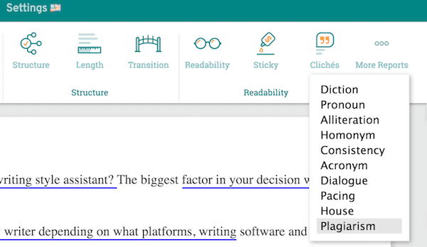how to find the prowritingaid plagiarism menu