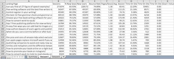 GA spreadsheet