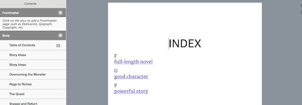 kindle create index