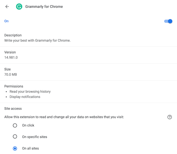 The two permissions set for the browser extension