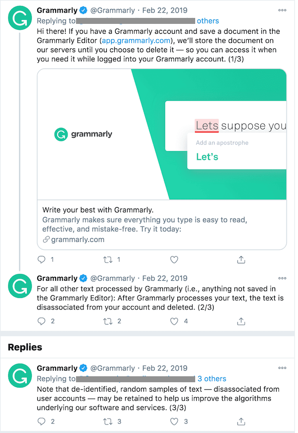 A Grammarly Tweet explaining its data storage of documents