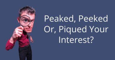 Peaked Peeked Or Piqued My Interest
