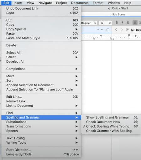 book editing with Scrivener grammar