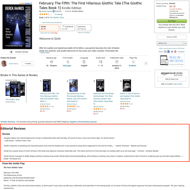 amazon editorial reviews page